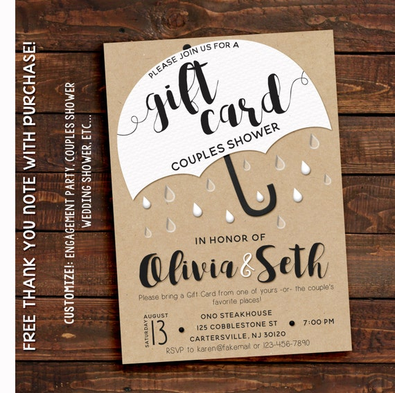 Gift Card Only Wedding Shower : Couples Shower InvitationCouples Shower Invitation Printable