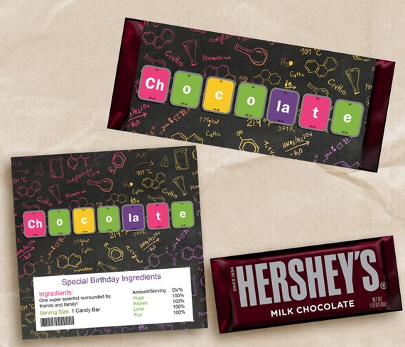 Chocolate Bar Wrapper Science Party. Candy Bar, Hershey Bar. Printable Science.