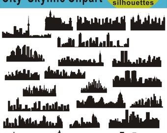 City Silhouette Clipart, City Skyline Silhouette Clipart, City Building Silhouette, City Clipart Images, SVG Files, png svg eps