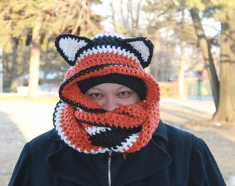 Infinity Scarf with Hood, Custom, Made to order, Fox Wolf