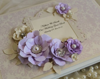 lilac wedding guest book, personalised wedding stationery, lilac and cream wedding decorations, vintage floral guest book, scrapbook