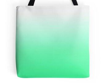 Mint Green Bag, Green Purse, Mint Green Accessories, Mint Green Tote Bag, Green Tote, White Green Tote, Green White Bag, Light Green Bag