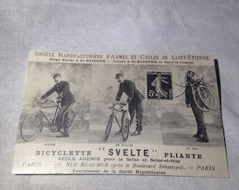 Vintage Style French Folding Bicycle Postcard