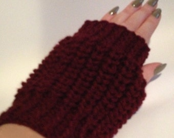 GetWoolly Hand knitted fingerless mittens, berry, plum, burgundy, wrist warmers
