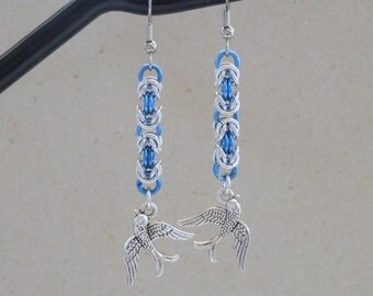 Earrings, Chainmaille in Blue, Harry Styles Tattoo inspired, Sparrow Charms, One Direction