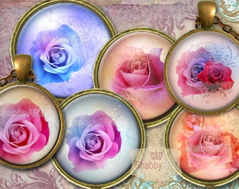 LOVELY ROSES -  Digital Collage Sheets, digital downloads, bottle cap images, for Jewelry Making, Scrapbooking, Bottle Caps, Arts and Crafts