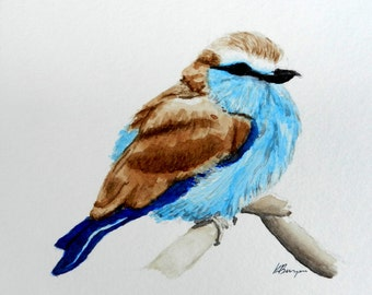 Blue and Brown Bird, 6x6, Original Watercolor Painting