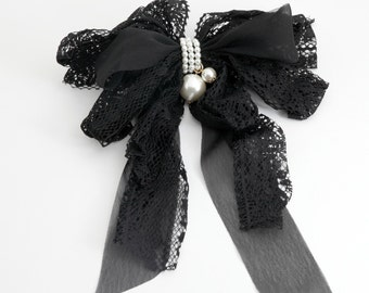 Lace Chiffon Long Tail Bow Pearl Ornamented Romantic French Hair Barrette