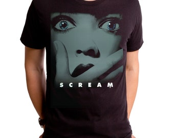 Scream For Me (SCR0040-101BLK) men's tee. scary movies, masks, thriller, wes craven, halloween, horror, 90s movies, miramax