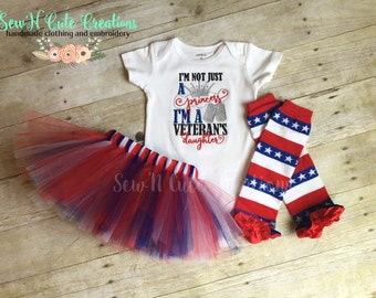 Veteran's Princess Tutu Set-Patriotic- America- USA- Veteran- Army- Red White and Blue