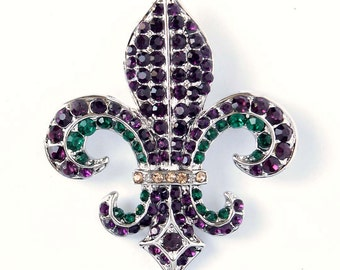 Fleur de Lis Brooch, Rhinestone Purple Fleur De Lis Pin, Purple Green New Orleans Jewelry, Purple Green Brooch, Fleur De Lis Brooches