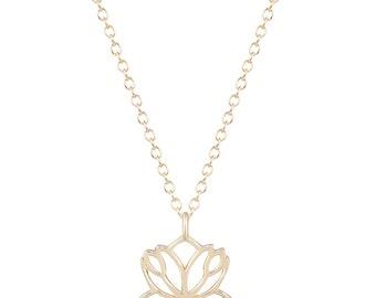 14kt Gold Lotus Flower Necklace, Gold Lotus Necklace, Lotus Leaf, Yoga Necklace, Lotus Flower Charm Necklace, Lotus Pendant, Lotus Leaves