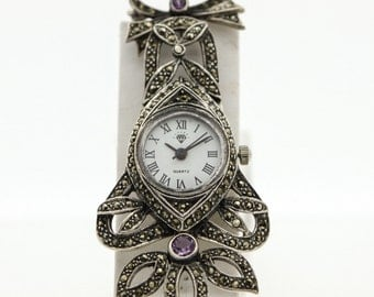 A Marquasite and Amethyst Brooch Watch (SKU495)