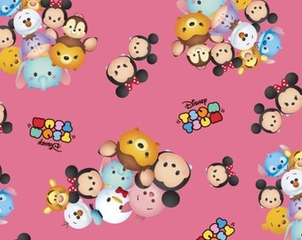 Disney Tsum Tsum Fabric Group Toss Pink Logo Cotton BTY