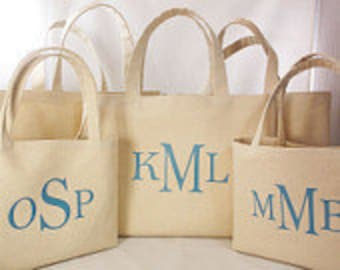 Set of 5 Personalized with Triple Monograms, Canvas Beach Tote Bag, Personalized for You Tote, Reusable Shopping Bag, Cruise Getaway