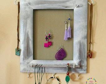 Rustic French Provincial Hanging Jewellery Organiser Wood jewelry Organiser Shabby Chic Earrings organiser Wall Mounted Jewelry rack