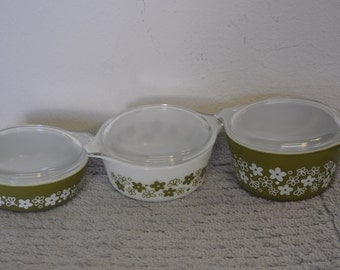 Set of Three Pyrex Bowls with Covers