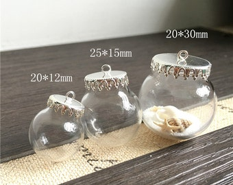 4pcs 20MM/25MM/30MM Glass Ball Bottle With silver Cap,Globe charm pendant,Empty Containers,glass globe bottles