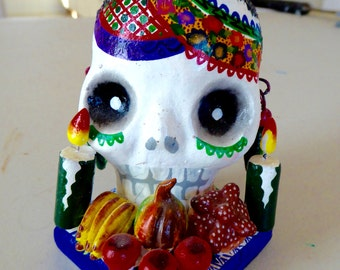 Day of the Dead Painted Skull with Candles