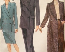 Stunning Double Breasted Long Coat or Suit Pattern Vogue 9749