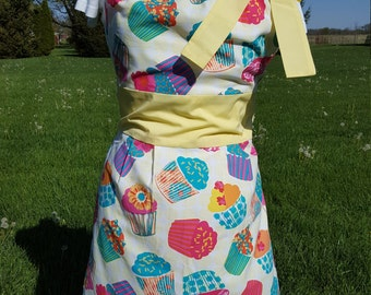 Apron, colorful cupcake print cotton fabric