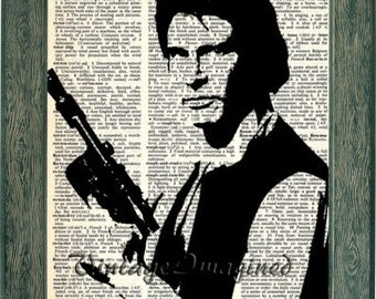 Star Wars Han Solo art print on upcycled vintage dictionary page 8x10