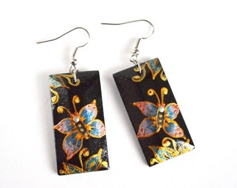 Butterfly Earrings Gift idea|for|her gift|for|wife gift|for|women folk earrings handmade jewelry handpainted earrings painting earrings Art