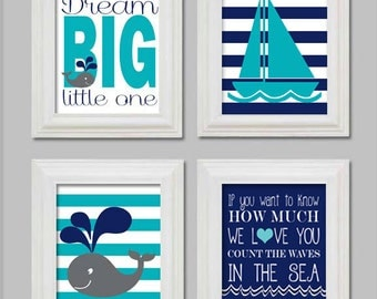 Count the waves in the sea, Nautical 8x10, Nautical whale nursery prints