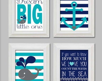 Nautical Nursery 8x10 set of Art Print, Anchor, Whale, Count the waves in the sea