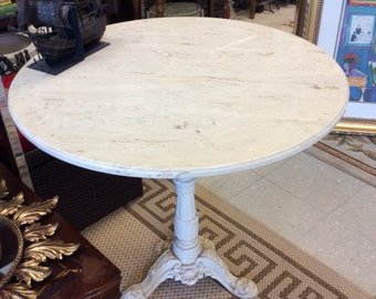 Marble top cast iron base table