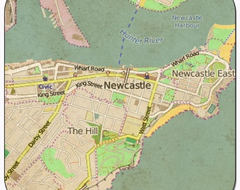 Newcastle Vintage Map Coasters