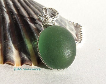 Genuine Sea Glass Necklace, English Sea Glass Necklace, Genuine Sea Glass Jewelry, Green Sea Glass Jewelry, Ocean Jewelry, Rare Sea Glass