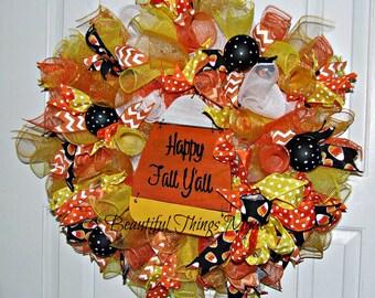 Halloween Wreath, Front Door Wreath, Deco Mesh Wreath, Candy Corn Wreath, Halloween Decor, Door Hanger, Happy Fall Y'all, Trick or Treat