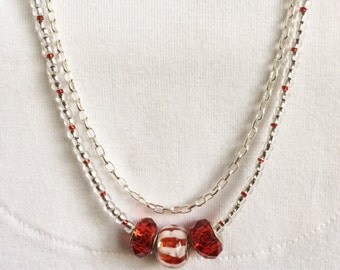 Red Necklace Red Bead Necklace Beaded Layer Necklace Boho Chic Necklace Pandora Style Glass Bead Necklace Double Strand Delicate Necklace