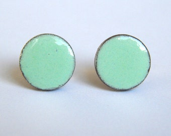 round green post earrings, gift idea for her, ear studs, ceramic jewelry, pins, small earrings, tiny, girly, boho, hippie