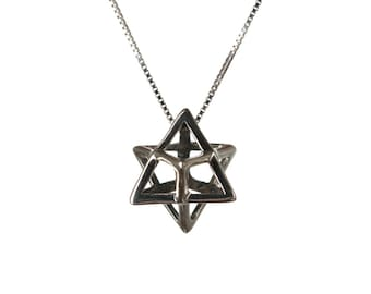 Merkaba Necklace Sterling Silver Pendant Sacred geometry Kabbalah Jewelry Star of David 3d Seed of life  Handmade Free delivery
