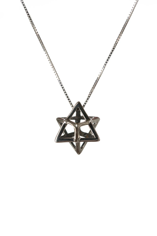merkaba necklace sterling silver pendant sacred geometry