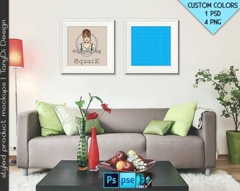 Square #R03 Wide White Black Set of 2 Square Unmatted Frames in Living Room, Modern Sofa, 4 Print Display Mockups, PNG PSD PSE Custom colors