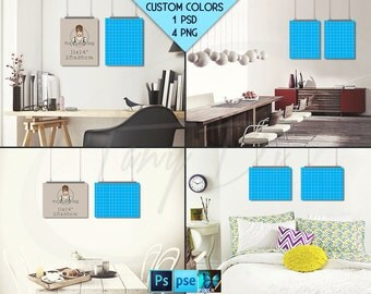 11x14 #WP03 Set of 2 Portrait & Landscape Poster Mockups on Interior Wall, Metal Binder Clips, 4 Unframed Print Display Mockups PNG PSD PSE