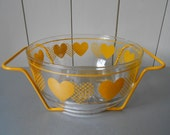 Lovely Vintage glass Salad Bowl or Fruit Punch Bowl. Dish with metal holder. Decorated with Yellow Hearts. 1970s 1980s. Italian Mod Retro