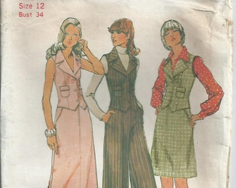 Pants, Skirt and Vest - Simplicity Pattern 5857 - 1973