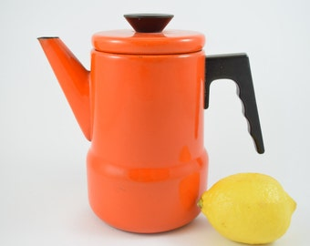 Vintage Enamel Coffee pot, orange and black, 70s, Enamel ware, retro kitchen decoration