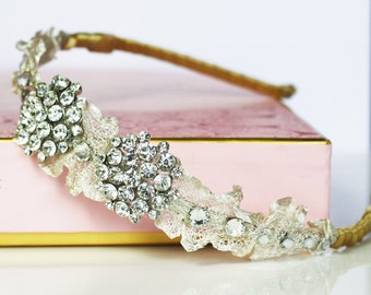 Vintage brooch bridal tiara headband.  Diamante headband, wedding headpiece