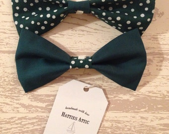 Handmade dark green plain and spotty dog bow ties for small/medium dogs/puppies - Pampered Pooch Collection