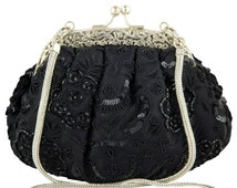 Black Evening Bag, Beaded Clutch, Black Clutch, Black Bead Purse, Evening Bag, Satin Evening Bag, Vintage Style Clutch, 20's style bag,