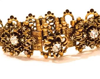 Victorian Bracelet, Vintage Rhinestone Bracelet, Book Chain , Link Bracelet, Vintage Jewelry,  Rhinestone Bracelet,