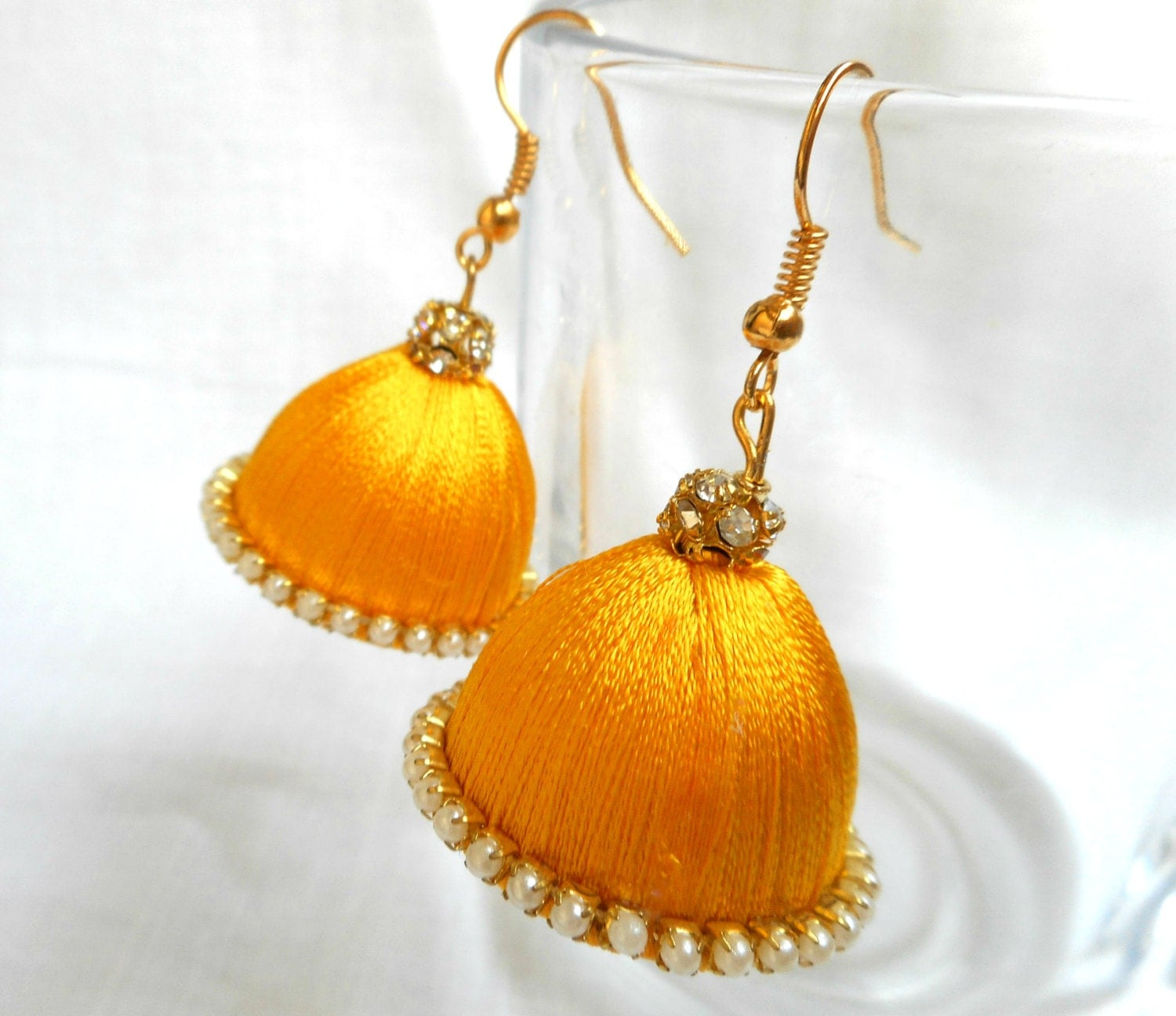 Indian Earrings Yellow Silk Thread Jhumka Chandelier