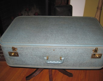Large Vintage blue suitcase luggage speckled blue