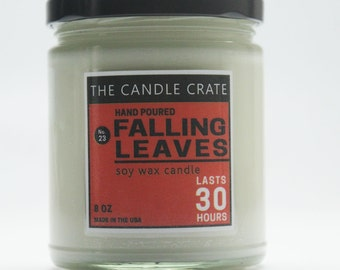 Falling Leaves 8 Ounce Scented Soy Wax Candle Fall
