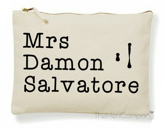 The Vampire Diaries Make-Up Bag Mrs Damon Salvatore Gift TVD Make-Up Bag Ian Somerhalder The Vampire Diaries Quote Elena Gilbert Stefan